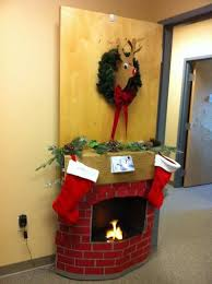 christmas office door decorations. christmas door decorating contest cardboard fireplace and deer office decorations f