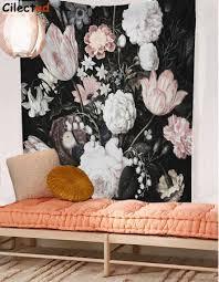 Cilected Zwart Bloesems Mooie Bloemen Muur Opknoping Floral Tapestry