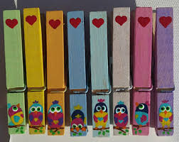 Painted clothespins birds