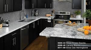 silver flower granite carrara bianco silver oak herringbone formica laminate kitchen