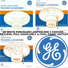 ge porcelain light bulb lampholder fixture keyless pull chain or grounded