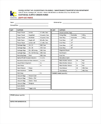 Free Supply Request Form Template Ordering Order Templates Sample ...