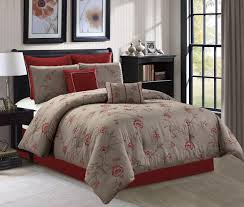 8 piece taupe red fully embroidered anemone fl bedding comforter set bedding collections