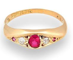 antique 18ct yellow gold ruby diamond ring size