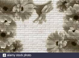 3d wallpaper, gerberas on white brick ...