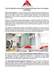 Interior Design Internship Mumbai Get The Fashion And Interior Designing Course From The