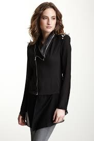 image of gracia spiked faux leather shoulder jacket