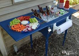 turn an old sewing table into a backyard party station these are the