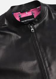 leather jacket with biker collar emporio armani