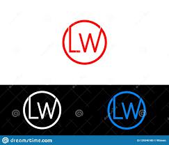 Lw Logo Design Lw Circle Shape Letter Logo Design Stock Vector