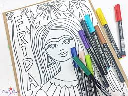 I found your work inspirational and hope that it will open that doors to people who might not know frida kahlo. Free Frida Kahlo Coloring Pages The Crafty Chica Crafts Latinx Art Creative Motivation