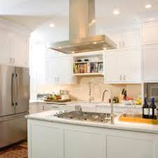gas cooktop island. White Transitional Kitchen With Gas Cooktop Island