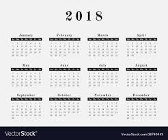 Horizontal Calendar 2018 Year Calendar Horizontal Design