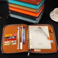 A5 Leather Spiral Notebook Zipper Binder Agenda Planner Organizer Large Capacity Office Padfolio Document Organizer