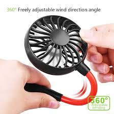 Mini Adjustment <b>Lazy Neck Hanging</b> Style Double Sport Fans USB ...