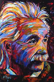oil painting portrait art painting of albert einstein by debra hurd