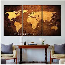 handpainted 3 piece modern abstract home decor world map pictures
