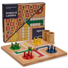 Wooden Board Game Sets Wooden Snakes and Ladders Ludo Game Set Reversible 100 Games in 16