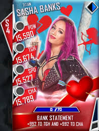 Professional wrestling's working conditions, by nature, make for an incestuous environment. Wwe Supercard On Twitter Here S The First Valentine S Day Card Reveal With Stats Sashabankswwe Which One Of You Superstars Has Already Grabbed A Titan Candy Heart Https T Co R2me7o3uj0