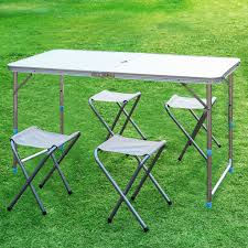 Camping Folding Table And Chairs Set Portable Adjustable Folding Picnic Table 4 Beach Camping Chair