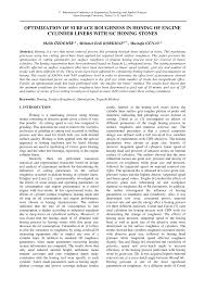 Pdf Optimization Of Surface Roughness In Honing Of Engine