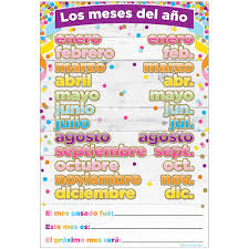 Chart Spanish Months Of The Year Dry Erase Surface