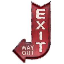 distressed red exit way out metal wall decor