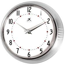 infinity instruments silver round metal retro wall clock by infinity instruments for homeware in australia