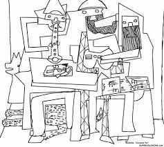 Drie Musketiers Door Pablo Picasso Kleurplaat Gratis Kleurplaten