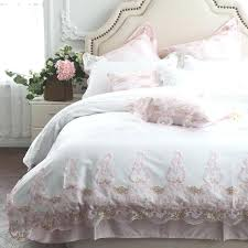 white princess bed cotton luxury white princess girl bedding set pink lace duvet cover bed sheet