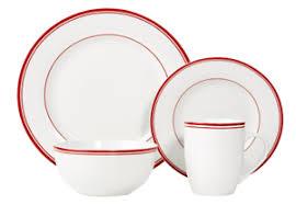 Image is loading Red-White-Dinnerware-Set-Dishes-16-Piece-Plates- Red White Dinnerware Set Dishes 16 Piece Plates Bowls Kitchen Dinner