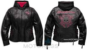 harley davidson women s scroll skull leather motorcycle jacket motoress