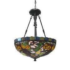 vintage bronze leaded stained glass hanging chandelier pendant