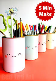 Kawaii Pencil Holder DIY Idea. These Tin Can Pen Pots are super duper quick  and