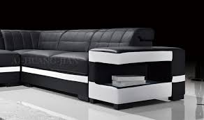 black adjule backrest sectional leather sofa set with storage and drawer