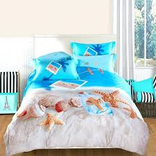 sea shell comforter sets ocean blue beige and brown seashell and starfish print marine life tropical