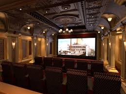 Interior:Awesome Theater Room Design With Artistic Ceiling And Beautiful  Chandelier Ideas Awesome Theater Room