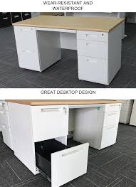environmental powder coating double sided office desk with drawers