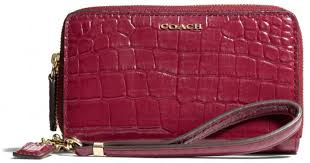Lyst - Coach Madison Double Zip Phone Wallet in Croc Embossed Leather in Red