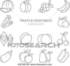 果物と野菜 線である アイコン ベクトル セット クリップアート