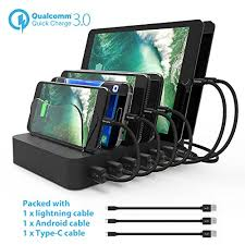 multi phone charging station. Paxcess Charging Station 60W 12A 6 Port USB Charger QC 3.0 Quick Charge Dock, Phone Multi Desktop With Removable H