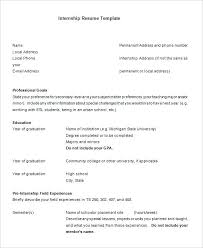 Internship Resume Template Free Samples Format Free High School ...