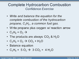29 complete hydrocarbon combustion confidence exercise write and balance the equation chapter 13 chemical reactions sections ppt