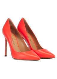 heeled pointy toe pumps in red leather