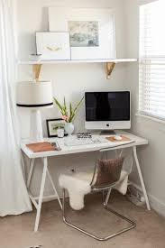 grey and scout chic home office design with white sawhorse desk paired with ikea tobias