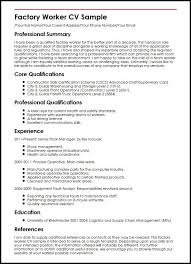 Resume Examples For Factory Workers Examples Of Resumes