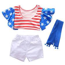 1290 <b>Girls</b> Polyester Star Stripe Flying Sleeve Top + Shorts + Belt <b>Set</b>