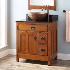 American Craftsman Vessel Sink Vanity Rustic Oak Bathroom - Oak bathroom vanity cabinets