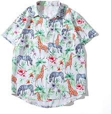 Amazon.co.jp: Men's Aloha Shirt Animal <b>Print</b> Giraffe <b>Zebra</b> Summer ...