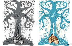 Fotografie Obraz Acorn And Tree Of Life Tattoo Style Vector